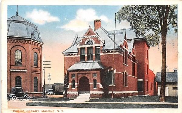 Public Library Malone, New York Postcard