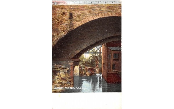 Main Street Bridge Malone, New York Postcard