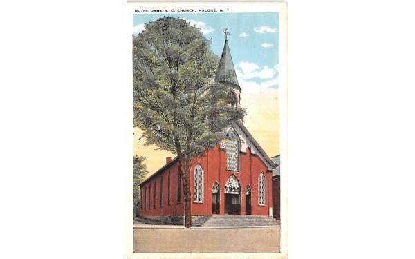 Notre Dame RC Church Malone, New York Postcard