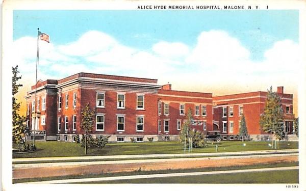 Alice Hyde Memorial Hospital Malone, New York Postcard