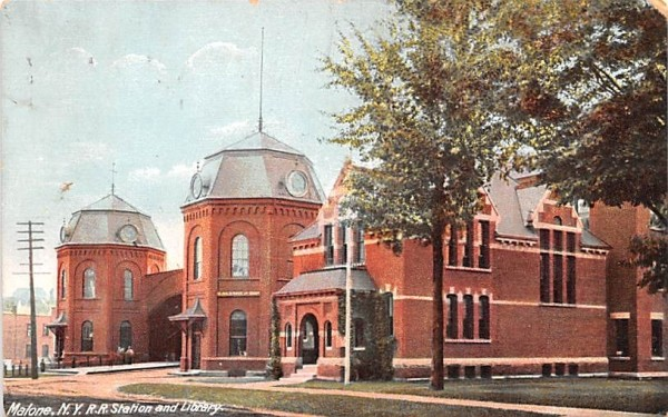 RR Station & Library Malone, New York Postcard