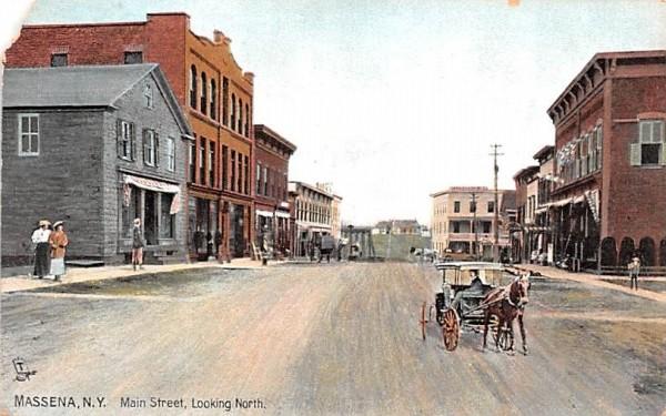Main Street Massena, New York Postcard