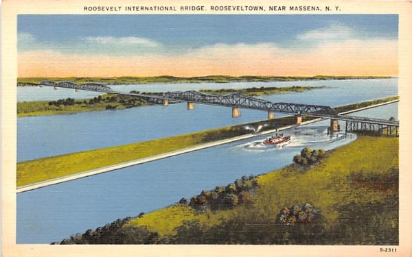 Roosevelt International Bridge Massena, New York Postcard