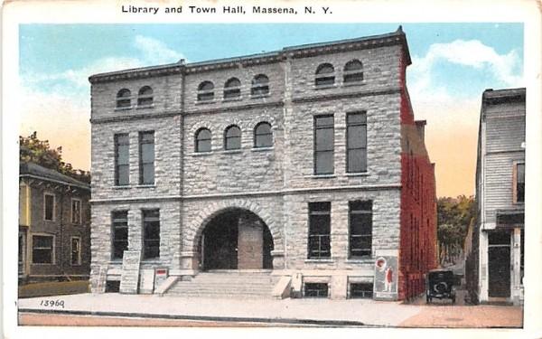 Library & Town Hall Massena, New York Postcard
