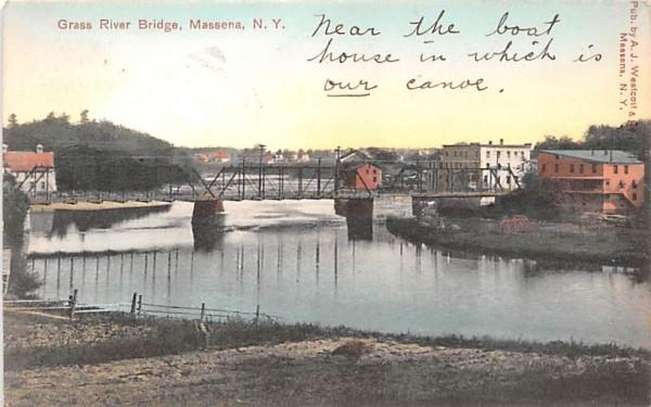 Grass River Bridge Massena, New York Postcard