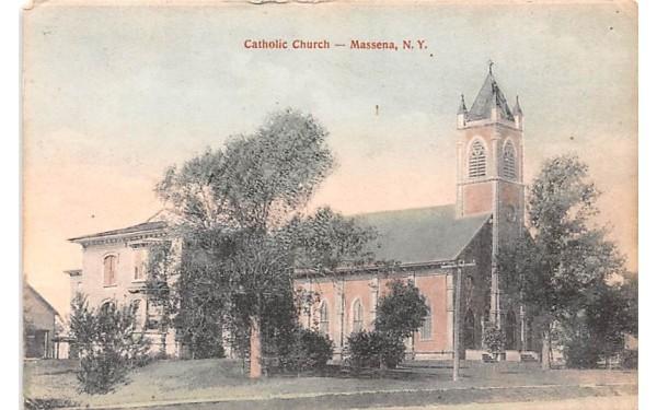 Catholic Church Massena, New York Postcard