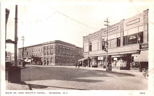 Main Street & White's Motel Massena, New York Postcard
