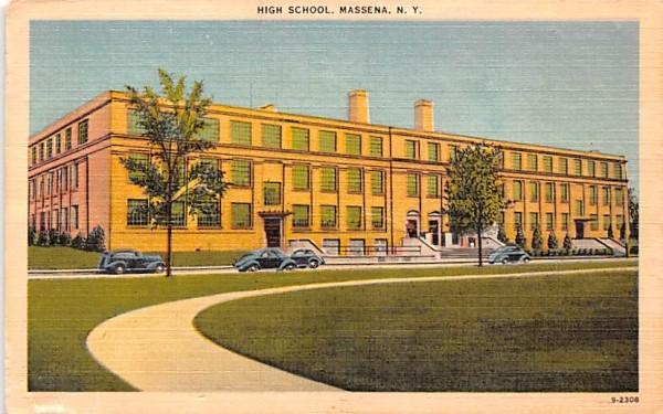 High School Massena, New York Postcard