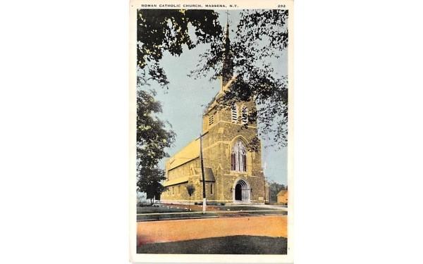 Roman Catholic Church Massena, New York Postcard