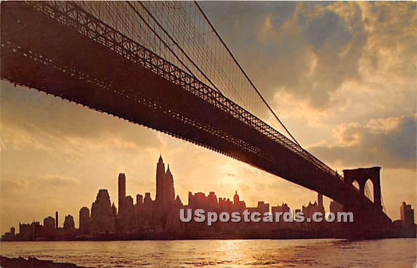 Brooklyn Bridge - Manhattan Island, New York NY Postcard