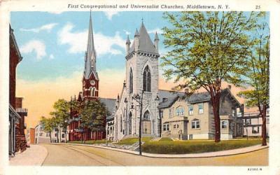 First Congregational & Universalist Churches Middletown, New York Postcard
