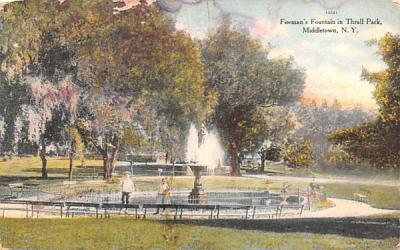 Firemen's Fountain Middletown, New York Postcard