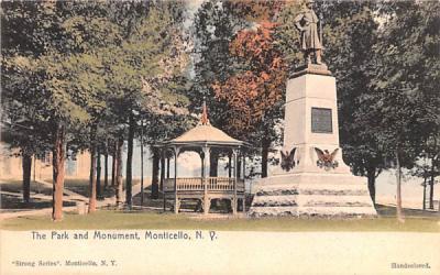 The Park & Monument Monticello, New York Postcard
