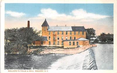 Ballard's Falls & Mill Malone, New York Postcard