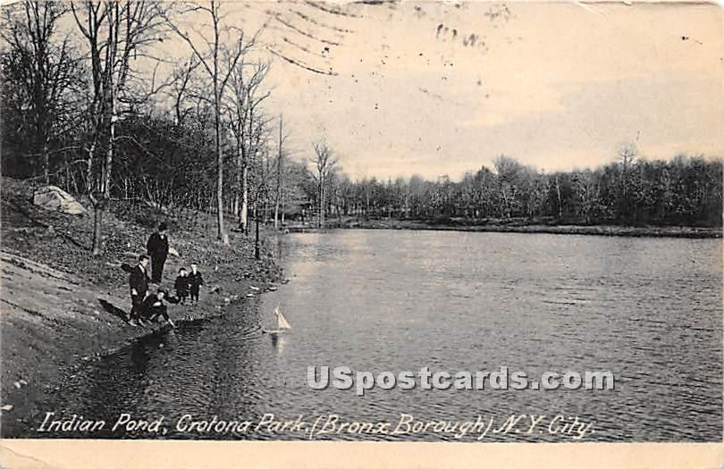 Indian Pond, Crotona Park - New York City Postcards, New York NY Postcard
