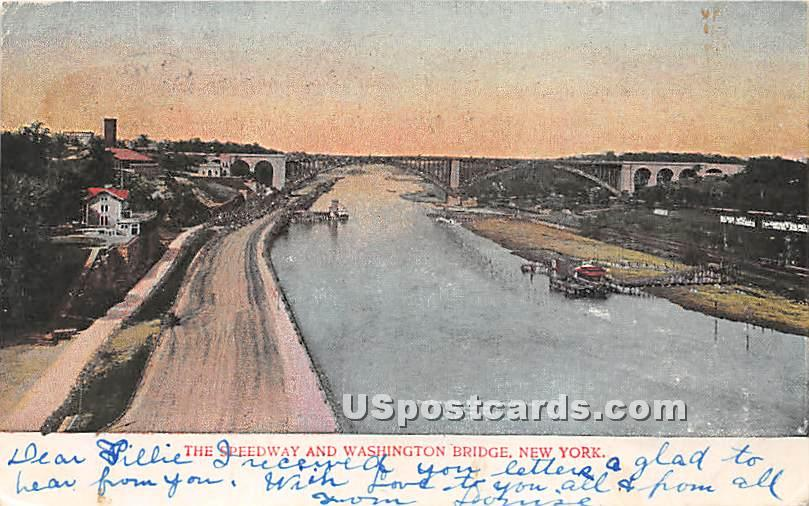Speedway & Washington Bridge - New York City Postcards, New York NY Postcard