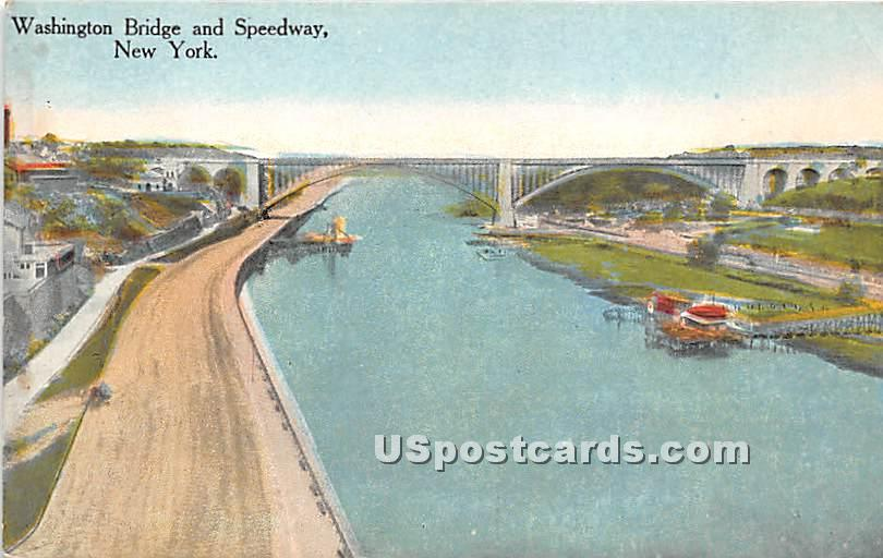 Washington Bridge & Speedway - New York City Postcards, New York NY Postcard
