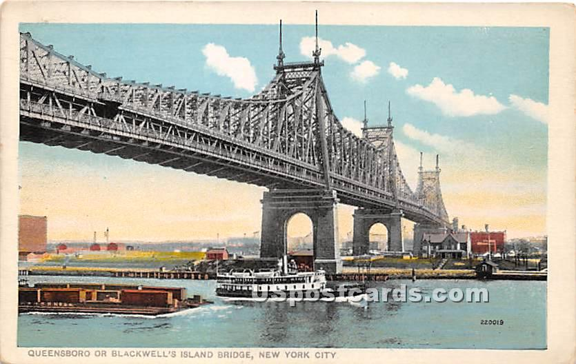 Queensboro or Blackwell's Island Bridge - New York City Postcards, New York NY Postcard