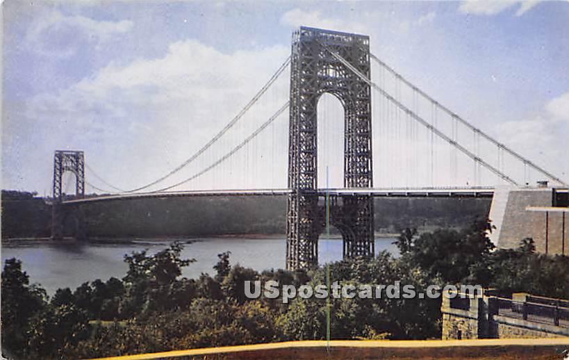 George Washington Bridge & Hudson River - New York City Postcards, New York NY Postcard