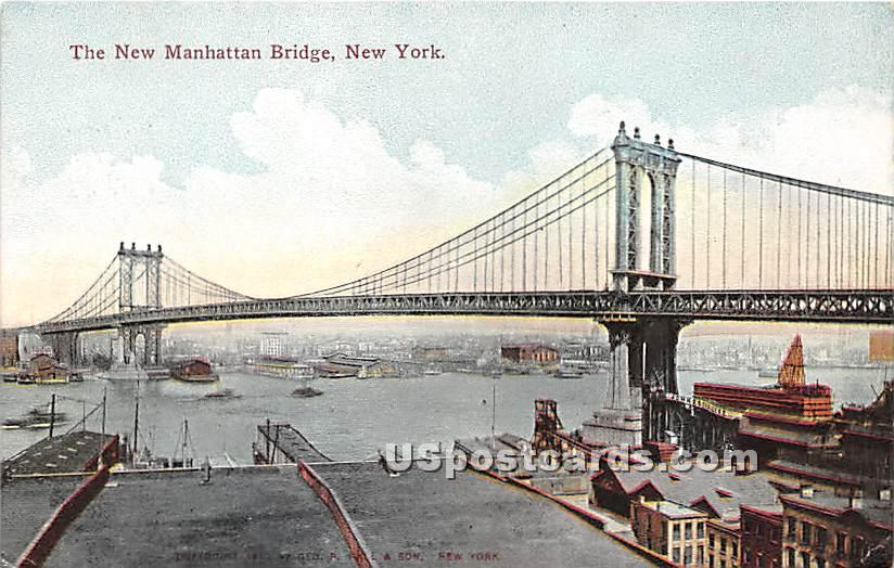 New Manhattan Bridge - New York City Postcards, New York NY Postcard