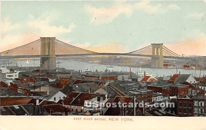 East River Bridge - New York City Postcards, New York NY Postcard