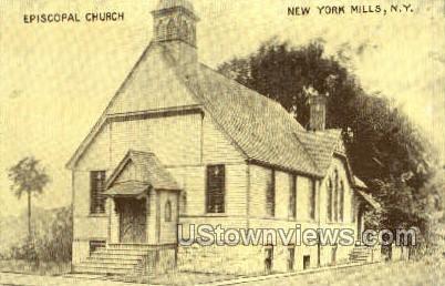 Episcopal Church - New York Mills Postcards, New York NY Postcard