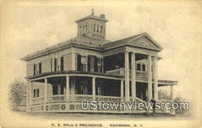 C.E. Hall's Residence - Norwood, New York NY Postcard