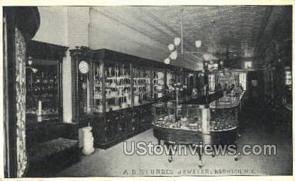A.D. Sturges Jeweler - Norwich, New York NY Postcard