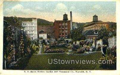 R.D. Eaton Sunken Garden - Norwich, New York NY Postcard