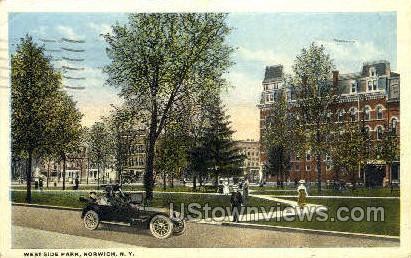 West Side Park - Norwich, New York NY Postcard