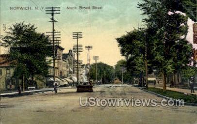North Broad Street - Norwich, New York NY Postcard