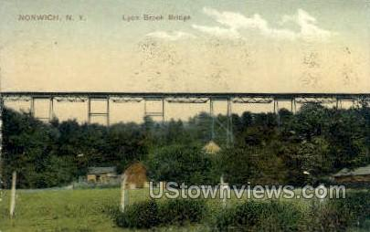Lyon Brook Bridge - Norwich, New York NY Postcard