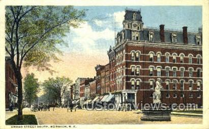 Broad Street South - Norwich, New York NY Postcard