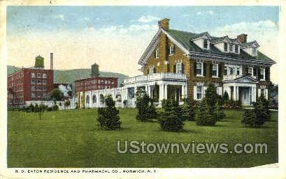 R.D. Eaton Residence - Norwich, New York NY Postcard