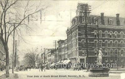 West Side of South Broad Street - Norwich, New York NY Postcard