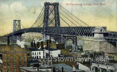 Williamsburg Bridge - New York City Postcards, New York NY Postcard