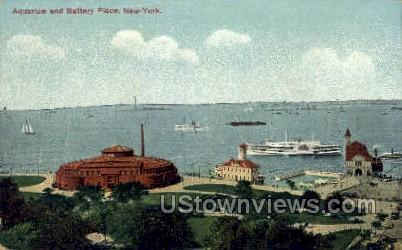 Aquarium and Battery Park - New York City Postcards, New York NY Postcard