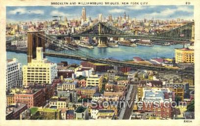 Brooklyn & Williamsburg Bridges - New York City Postcards, New York NY Postcard