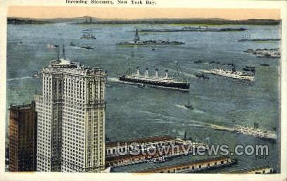 Incoming Steamers - New York Bay Postcards, New York NY Postcard
