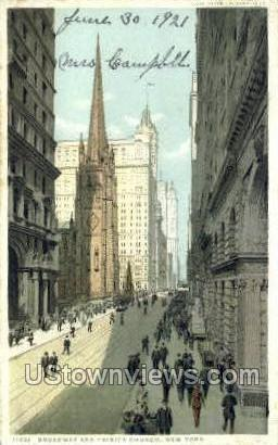 Broadway & Trinity Church - New York City Postcards, New York NY Postcard