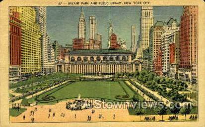 Bryant Park & Public Library - New York City Postcards, New York NY Postcard