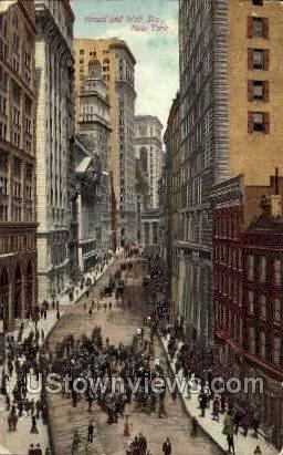 Broad & Wall St. - New York City Postcards, New York NY Postcard