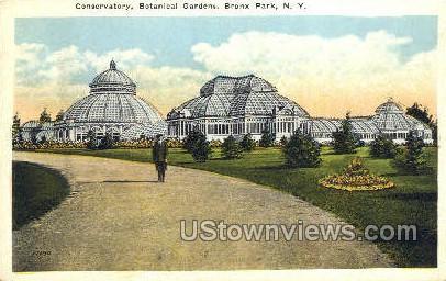 Conservatory, Botanical Gardens - Bronx Park, New York NY Postcard