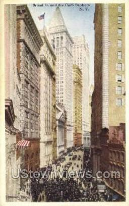 Broad St & Curb Brokers - New York City Postcards, New York NY Postcard