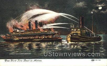 New York Fire Boat - Misc Postcard