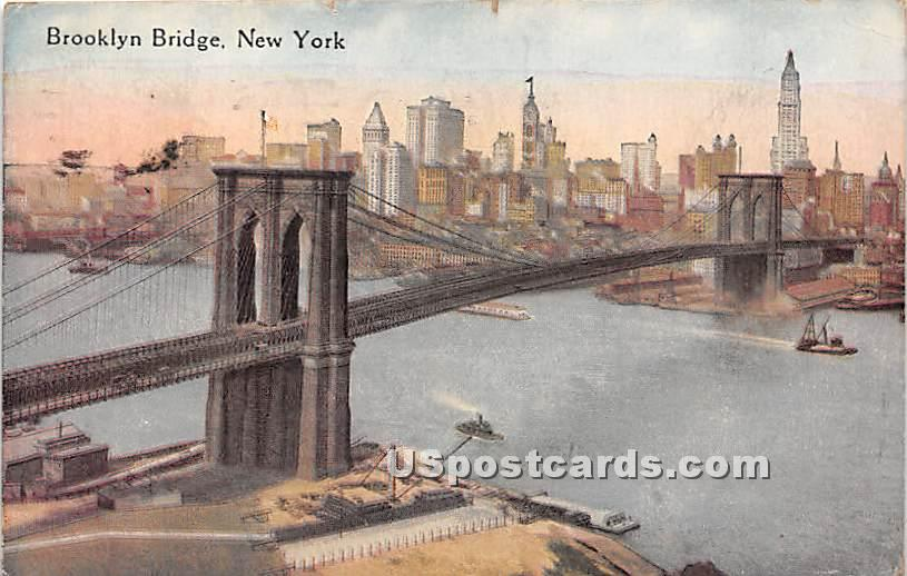 Brooklyn Bridge - New York City Bridges Postcards, New York NY Postcard