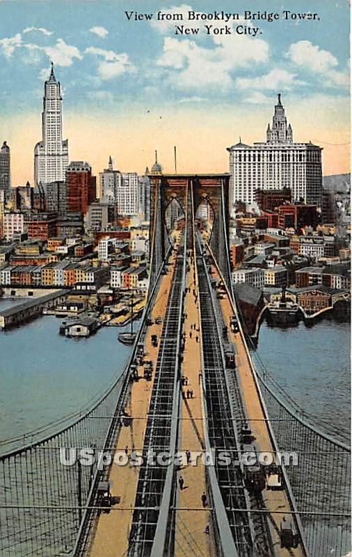 Brooklyn Bridge Tower - New York City Bridges Postcards, New York NY Postcard