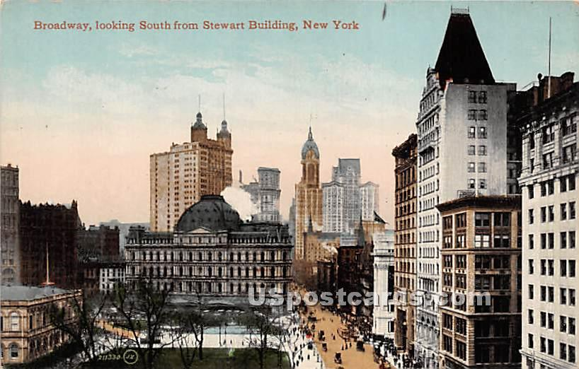 Broadway, Stewrat Building - New York City Postcards, New York NY Postcard