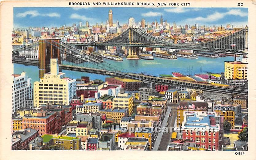 Brooklyn & Williamsburg Brdges - New York City Postcards, New York NY Postcard