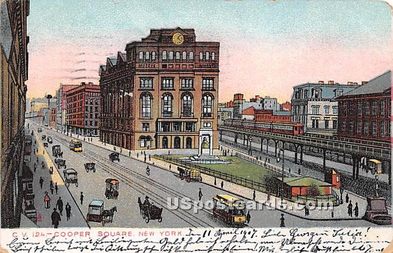 Cooper Square - New York City Postcards, New York NY Postcard